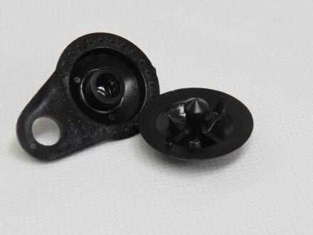 Kunststoff-Clip - 2-teilig - zur Netzbefestigung - schwarz