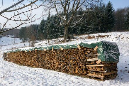 """Holzabdeckplane - grün - """"leichte Ausführung"""" 1,7 m x 6 m"""